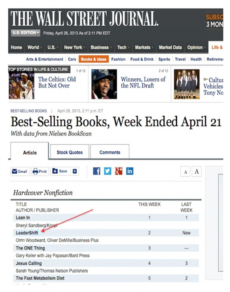 lLeadershift hits best seller lists in first week of sales
